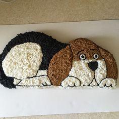 Beagle dog cake made with Wilton puppy cake pan from 1986. Pan found on Amazon. Puppy Dog Cupcakes, Puppy Cake, Beagle Mix Puppies, Beagle Dog, Dog Cakes, Cupcake Cakes, Wilton Cake Pans, First Birthday Cakes, Birthday Ideas