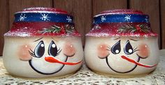 Snowman Glass Salt and Pepper Shakers Upcycled by PaintingByEileen, $16.00
