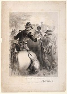 Black and white print depicting a Civil War soldier on horseback speaking to another soldier who is holding a young black girl. In the background are other soldiers and a cannon.