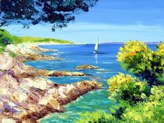 Dreamy Provence - Jean Marc Janiaczyk Landscape  Paintings  - White sail - Dreamy French Landscape Paintings 1600*1200  8
