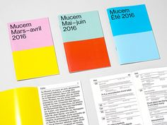 Spassky Fischer's colourful overhaul of Mucem's graphic communication system Graphic Design Layouts, Graphic Design Projects, Brochure Design, Layout Design, Branding Design, Print Design, Graphic Designers, Editorial Layout, Editorial Design