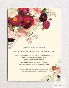 Botanist Study IV Wedding Invitation & RSVP Card Set (with envelopes)                                                                                                                                                     More