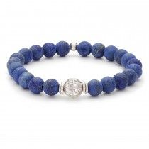 Tateossian Bracelet 10mm Silver and  Blue Lapis Beads Matte Finish, Medium 19 cm Length