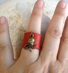 Soft Leather Ring Red With Baby Octopus Metal by StandsAndJewels