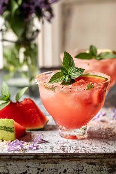 Smoky Watermelon Lemon Margarita. - Half Baked Harvest Watermelon And Lemon, Watermelon Margarita, Margarita Recipes, Cocktail Recipes, Drink Recipes, Drinks Alcohol Recipes, Sangria, Buffet, Half Baked Harvest