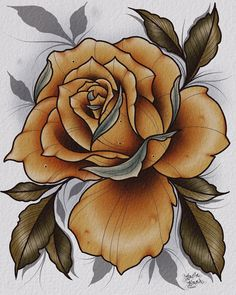 American Traditional Rose, Neo Traditional Roses, Traditional Rose Tattoos, Traditional Tattoo Flash, Rose Drawing Tattoo, Tattoo Ink, Body Tattoos, Arm Tattoo, Black And Grey Rose Tattoo