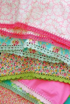 Crochet edging - no instructions, but I'm sure you could just use a sharp crochet hook and find a pretty stitch to use
