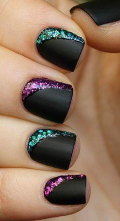 nos idees pour vos ongles noirs, ongles décorés deco ongle gel #nailart