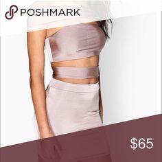 Straps , of the shoulder bandage like satin dress Amazing set . Dresses