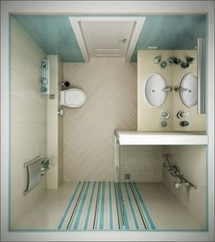 A bulky shower cabin can be replaced by a smaller booth in the corner of the room, with a drainage grate in the floor