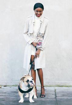Trench Coat + Sweater Dress + Heels