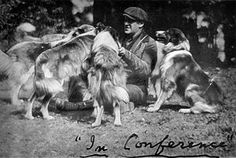 Albert Payson Terhune in conference with his Rough Collies
