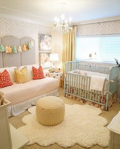 Lovely coral mint and yellow shared big girl room And nursery