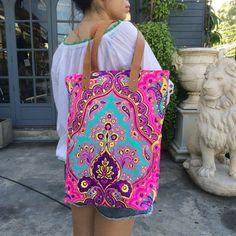 Summer tote bag with pockets Bag Beach totes Tote bag Canvas Boho Neon Hippie Beach bag Travel Bag B