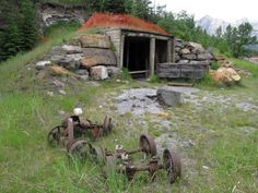 Abandoned Coal Mine # 2 shaft near the Bow River in Canmore, Alberta, Canada.