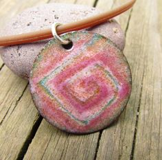pretty in pink  torch fired enamel sgraffito pendant by mrozspoon, $40.00