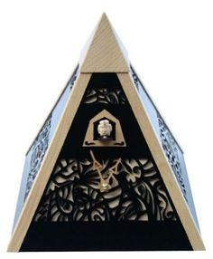 Rombach and Haas - Modern Art Pyramid, Quartz, Black, Natural Accents - The Well Made Clock Modern Cuckoo Clocks, Old Clocks, Black Forest Germany, Modern Art Styles, Clock Shop, Black Quartz, Filigree Design, Old World Charm, Modern Decor