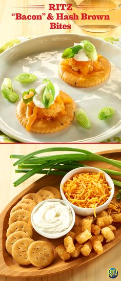 "Springtime snacks should be decadent and delicious. These RITZ cracker ""Bacon"" & Hash Brown Bites are a tasty and cheesy appetizer idea to serve mom before the main course! Top Bacon flavored RITZ crackers with a bite-sized potato nugget and shredded cheddar cheese. Melt the cheese, top with sour cream, green onions, and enjoy! Add any of your favorite toppings, like ketchup or chopped jalapeños, to give it your own twist. Life's Rich."