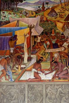 Diego Rivera mural in the National Palace, Mexico City This mural depicts life in Michoacan, Mexico in pre-Hispanic times