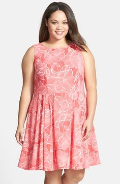 Gabby Skye Back Cutout Print Fit & Flare Dress (Plus Size) available at #Nordstrom