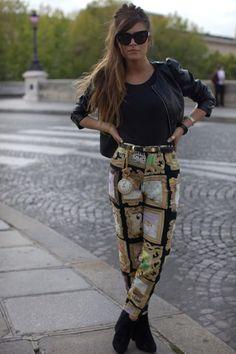 printed pants moschino - look at that clock!
