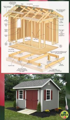 ✅🏠 shed plans! Start building amazing sheds the easier way, with a collection of shed plans! Backyard Buildings, Backyard Sheds, Outdoor Sheds, Backyard Landscaping, Backyard House, Shed Building Plans, Diy Shed Plans, Log Cabin Sheds, Shed Builders