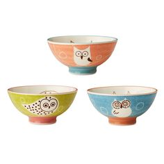 OWL BOWLS - SET OF 3 | Ceramic Bowls, Bird Illustrations, Playful Design, Casual Tableware | UncommonGoods