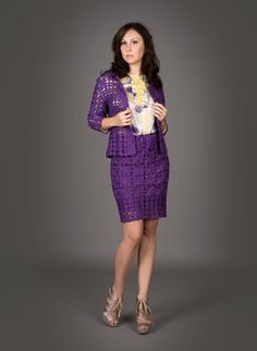 Blue violet exclusive crochet twopiece suit by LecrochetArt