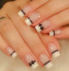 Incredible Valentine's Day Nail Art designs - Page 19 of 52 - Nageldesign - Bow Nail Art, Acrylic Nail Art, Acrylic Nail Designs, French Nails, French Manicures, Red Nails, Hair And Nails, Pink Nail, Nail Nail