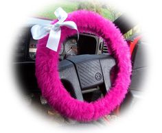 Cute Barbie Pink fluffy faux fur car steering wheel cover with...