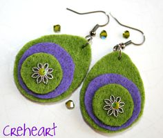 Creation by Gianpiera Conti. Creheart, Green and Purple for these extra-light Felt Earrings <3 them!