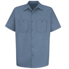 Red Kap Wrinkle-Resistant Cotton Short-Sleeve Work Shirt Postman Blue 2X-Large Long