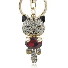 Lucky Cat Keychain - Love Cat Design Cat Vs Dog, Cat Keychain, Munchkin Cat, Copper Metal, Mold Making, Precious Metals, Crystal Rhinestone, Costume Jewelry, Jewelery