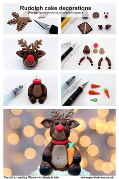 Make your cupcakes extra special this Christmas with these cute Rudolph the Reindeer cake toppers! Christmas Cupcakes - Fondant Fun or Clay (of course don't eat clay) Christmas Cake Designs, Christmas Cake Topper, Christmas Cake Decorations, Christmas Cupcakes, Holiday Cakes, Xmas Cakes, Holiday Desserts, Christmas Clay, Christmas Cooking