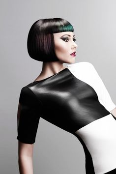 Monochromatic Misconception by Nicola Smyth Artistic Team Black Bob Hairstyles, Cool Hairstyles, Bob Cuts For Women, Black To Blonde Hair, Bob Haircut With Bangs, Shaved Hair, Bad Hair, Green Hair, Hair Art