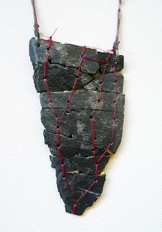 SINA EMRICH-DE-Necklace: The way 2013Slate, red thread, gold, nails9,5 x 5 x 0,5 cm  length: 6,3cm