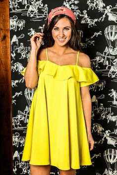 Dream In Technicolor Dress-Lemon - New Arrivals | The Red Dress Boutique