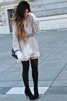 I love this outfit! The thick sweater balanced my white lace on the hem and the tall knee-highs with heels is quite the combo!