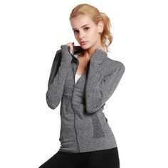 Find More Hiking Jackets Information about SUNCHOI Autumn Thumb Hole Fitness Jacket With Two Side Pocket  Zipper Sportswear Elastic Long Sleeve Trainning Yoga Coat Sweater,High Quality fitness maximum,China jacket galaxy Suppliers, Cheap jacket windproof from SUNCHOI Store on Aliexpress.com