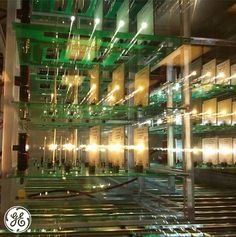 LED testing racks at GE Lighting's Nela Park facility in Cleveland, Ohio. The racks are used to test quality of light and bulb lifespan. #technology #lighting