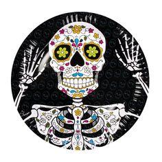 Pappteller Sugar Skull Party, 6er Pack