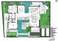 Minimal House Design, Modern Villa Design, Architecture Drawing Plan, Architecture Portfolio, Home Design Floor Plans, House Floor Plans, Villa Plan, Architectural House Plans, Model House Plan