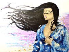 Introspection::  Technique mixte: acrylique, encre, fusain _ Taille: 36 x 48 _ Juillet 2011