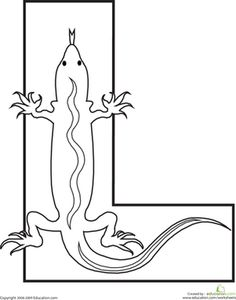 Alphabet l shape lizard image | Letter L Coloring Page | Worksheet | Education.com