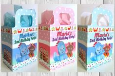 Personalised In The Night Garden Party Loot Bags. Night Garden, Goodie Bags, 1st Birthday Parties, First Birthdays, Favors, Daisy, Boxes, Party Ideas, Sweets