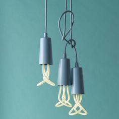 Plumen Metal Drop Cap Pendant and Designer Low Energy CFL Bulb - Pastel Blue - 5060282520387