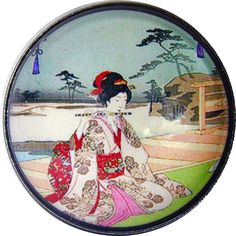 Japanese Woman Playing Flute   Crystal Dome Button 1 & 3/8 inch AAI 34