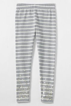 Girls Shimmer Ankle Length Knit Leggings from Lands' End