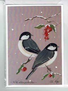 Grüße - Grußkarte - Weidenmeisen, handgemalt - ein Designerstück von Vogelmalerin bei DaWanda