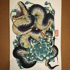 A3 #snake #chrysanthemum #painting #drawing #copic #tattoo #tattoos #irezumi #刺青 #wabori #和彫 #strictlytattoostudio #prahran #melbourne #melbournetattoo #australia #strictlytattoogallery #vancouver #canada #horiryutattoofamily #japan #japanese #japaneseart #japanesetattoo #japanesetattooist Diy Tattoo, Shogun Tattoo, Japanese Snake Tattoo, Japanese Tattoos, Tattoo Drawings, Body Art Tattoos, Copic, Petit Tattoo, Asian Artwork